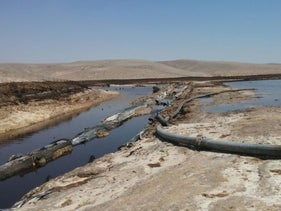 The scene of the acid spillage into Ashilim stream in the southern Judean Desert on June 30, 2017.
