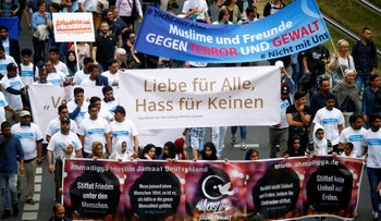 Muslims attend a rally to show solidarity against extremism, in Cologne, Germany June 17, 2017.