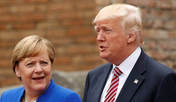 Canadian Prime Minister Justin Trudeau, German Chancellor Angela Merkel and U.S. President Donald Trump during a G7 summit in Sicily, Italy on May 26, 2017.