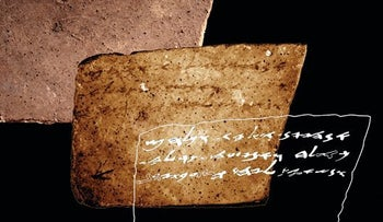 The newly discovered inscription on the back of Ostracon 16.