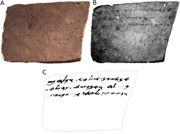 "The text on the back of ""Ostracon 16,"" found when the team photographer took an advanced-technology picture of the book of the sherd of pottery."