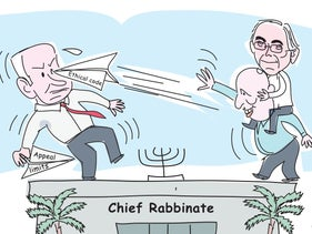 Illustration: Naftali Bennett, with Prof. Asa Kasher on his back, taunts Netanyahu with the ethical code; Moshe Kahlon and Yoav Galant walk away from each other.