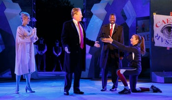 Tina Benko as Melania Trump in the role of Caesar's wife, Calpurnia, and Gregg Henry as President Donald Trump in the role of Julius Caesar in a dress rehearsal of The Public 'Julius Caesar' in NYC.