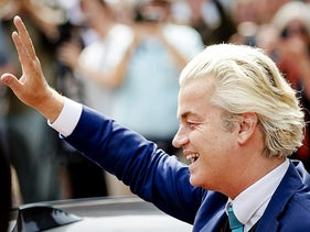 Dutch leader of the far right Party for Freedom Geert Wilders arriving at a protest against the appointment of Ahmed Marcouch as the new mayor of Arnhem, July 5, 2017.
