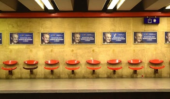 Campaign posters against George Soros at a subway station in Budapest, Hungary.