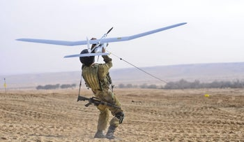 File photo: A Sky Rider drone is launched.