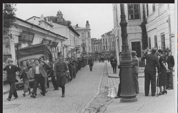 Jews are rounded up during the Iasi pogrom in Romania, June 1941.