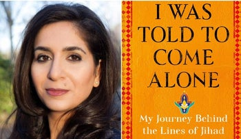 "A photograph of journalist and author Souad Mekhennet and the cover of her book, ""I Was Told to Come Alone."""