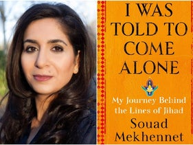 """A photograph of journalist and author Souad Mekhennet and the cover of her book, """"I Was Told to Come Alone."""""""