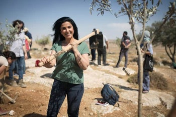 Dorit Rabinyan at the tree-planting ceremony