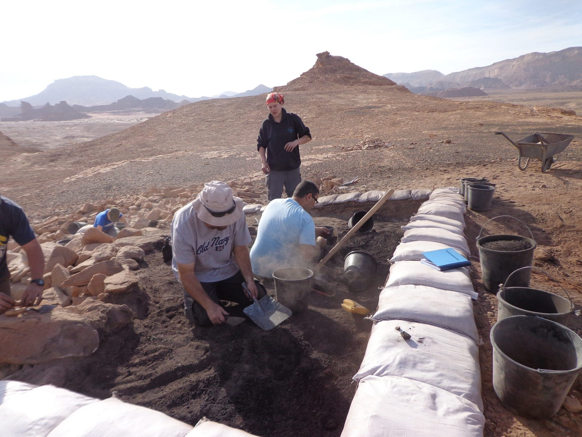 Site 34 at Timna, previously named 'Slaves Hill.' The new findings indicate that metalworkers operating at the site enjoyed a high social status.