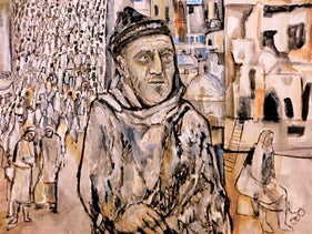 From the painting 'My Father and in the Background the Flight of Palestinians from Haifa (April 22, 1948),' Abed Abdi, 1988.