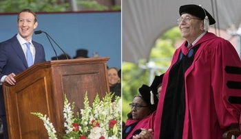Facebook CEO Mark Zuckerberg, left, and Michael Rabin at the Harvard Commencement, May 30, 2017.