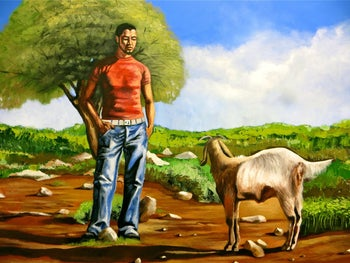 """Self-Portrait with Goat"" by Durar Bacri, 2008."