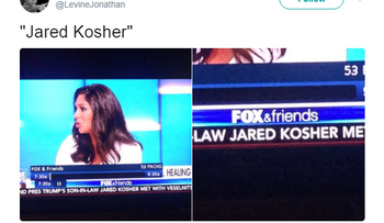 'Jared Kosher:' Fox News mistakes Trump's Jewish son-in-law's last name