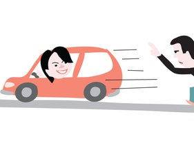 Illustration: Sayed Kashua chases a car driven by his daughter.