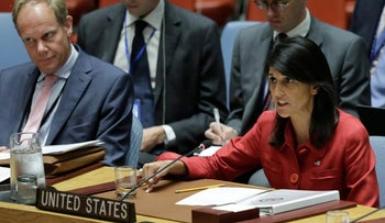United States U.N. Ambassador Nikki Haley responds to Russia's statements on North Korea's latest launch of an intercontinental ballistic missile on July 5, 2017.