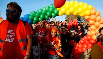 Hundreds of Israelis march in Be'er Sheva's first gay pride parade