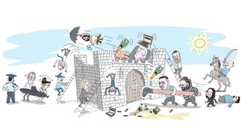 Illustration: The walls of Netanyahu's fortress are being destroyed by politicians around him.