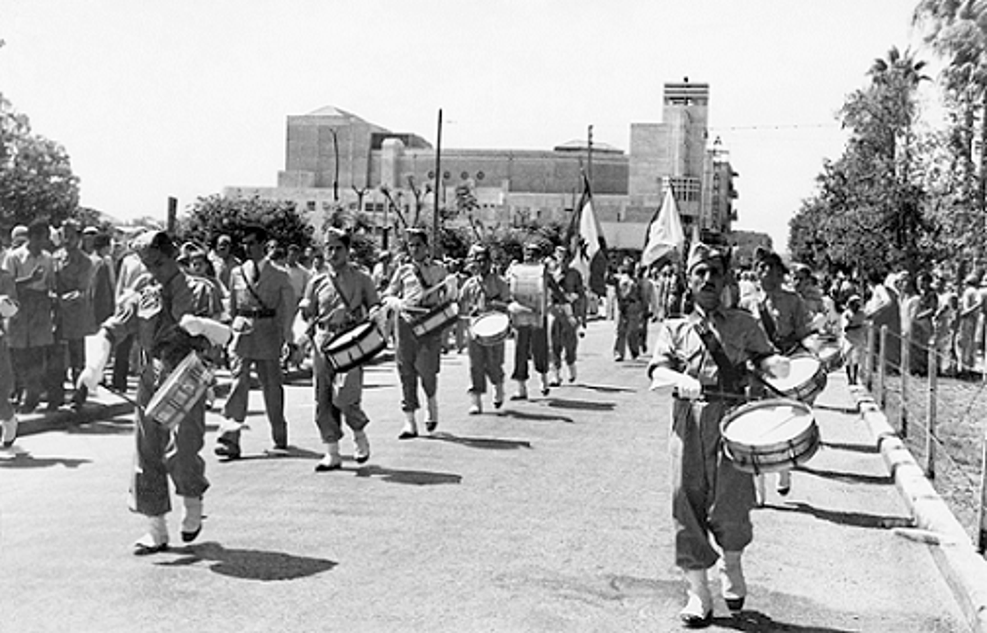 A march on King George Boulevard (now Jerusalem Boulevard) in Jaffa. The undated photo (likely taken in early 1948) was looted from the office of Al-Haj Ibrahim, Haifa.