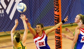 Australia and Great Britain going against each other in a netball preliminary round match at the 20th Maccabiah Games in Ra'anana on Sunday, July 9, 2017.
