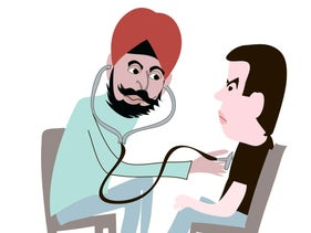 Illustration: A doctor with a turban listens to Sayed Kashua's heart with a stethoscope.