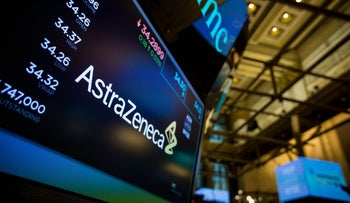 File photo: A monitor displays AstraZeneca Plc signage on the floor of the New York Stock Exchange.