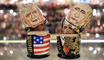 Traditional Russian wooden nesting dolls depicting U.S. President Donald Trump, left, and Russian President Vladimir Putin at a gift shop in central Moscow, July 6, 2017.
