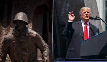 President Donald Trump delivers a speech at the Warsaw Uprising Monument in Krasinski Square in Warsaw, July 6, 2017.
