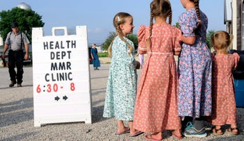 Mennonite girls gather at the health and safety clinic in Shiloh, Ohio on June 25, 2014.