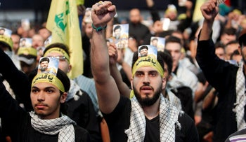 Supporters of Lebanon's Hezbollah leader Sayyed Hassan Nasrallah chant slogans and gesture during a rally marking Al-Quds day in Beirut's southern suburbs, Lebanon June 23, 2017.
