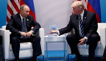 U.S. President Donald Trump meets with Russian President Vladimir Putin at the G20 Summit in Hamburg, Germany, July 7, 2017.