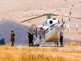 Sheldon Adelson and wife Dr. Miriam Adelson land at an Israeli army base in the Jordan Valley. July 2017