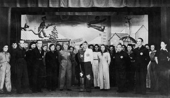 The cast of a play in Westerbork. Theater performances were one of the methods employed by the Nazis to maintain a benign facade.