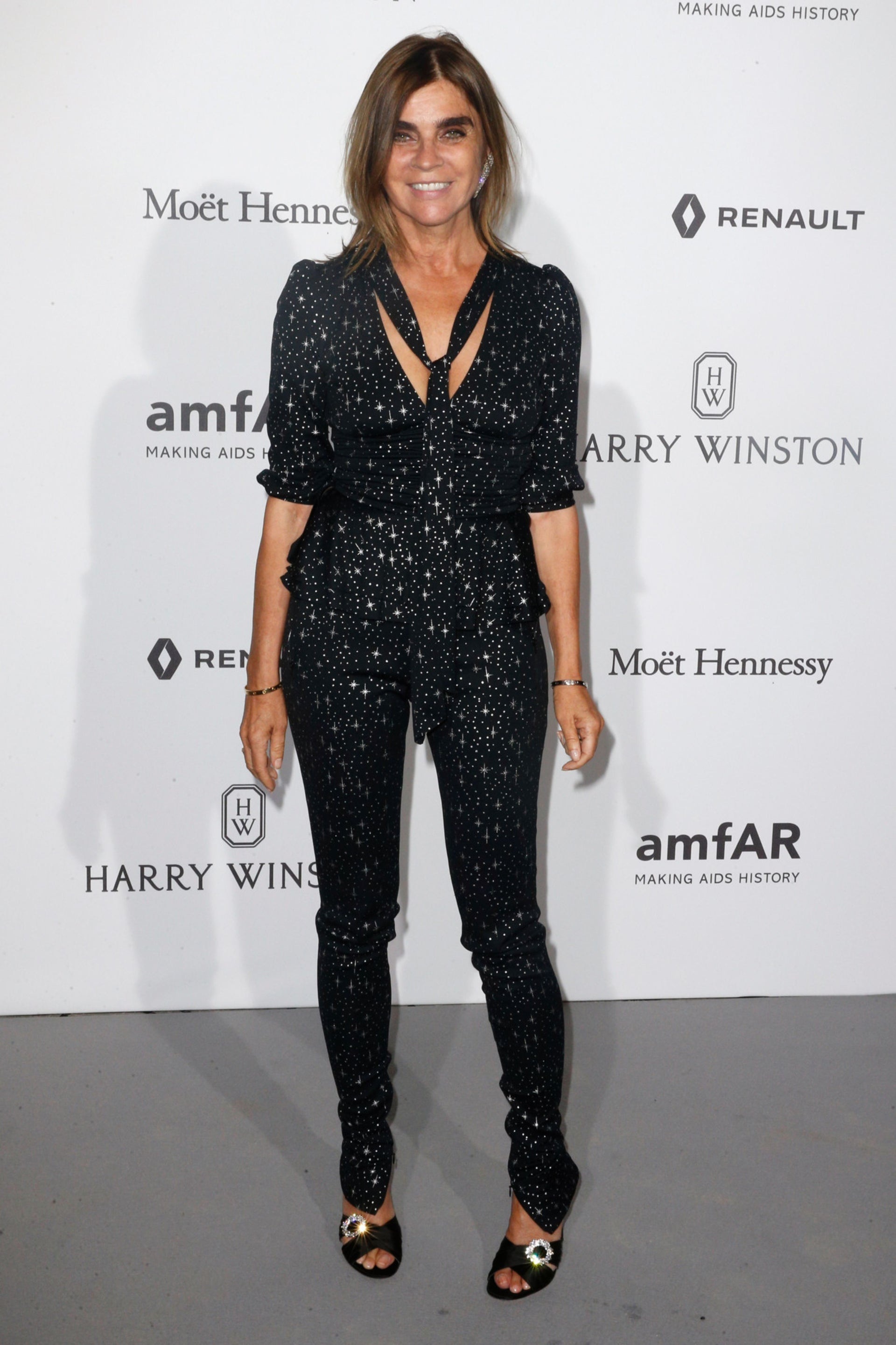 French journalist Carine Roitfeld poses during a photocall as part of a dinner organized by the foundation for Aids research amfAR, on July 2, 2017 at the Grand Palais in Paris.  /