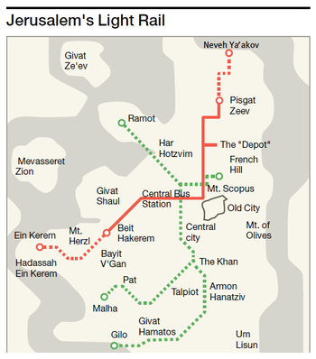 A map of Jerusalem's light rail and second planned line, which overseas companies fear will arouse political opposition because the line runs into parts of the city seized by Israel in 1967.