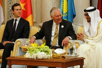 Rex Tillerson speaks with Abu Dhabi Crown Prince Mohammed bin Zayed al-Nahayan of the UAE during the Gulf Cooperation Council leaders summit in Riyadh