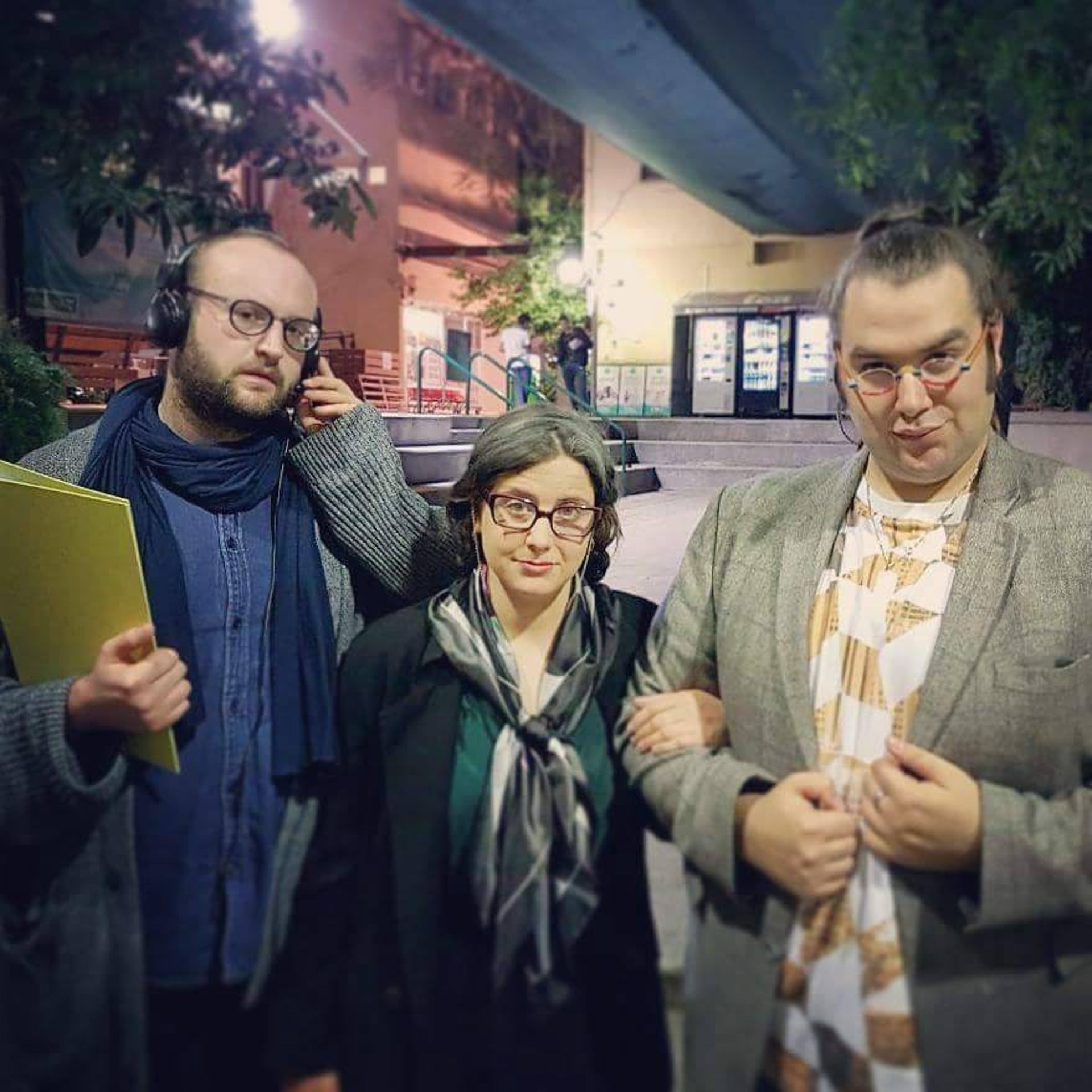 "Director Udi Brindat, left, and actors Carmel Netzer and Ben Yosipovitch posing before a performance of ""Bira ve Nazkira,"" which satirizes Israel's approach to the Holocaust, this week."