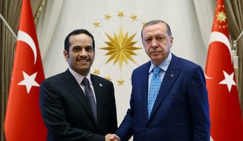 Turkey's President Recep Tayyip Erdogan shaking hands with Qatar's Foreign Minister Sheikh Mohammed bin Abdulrahman bin Jassim Al Thani at the presidential palace in Ankara on July 14, 2017.