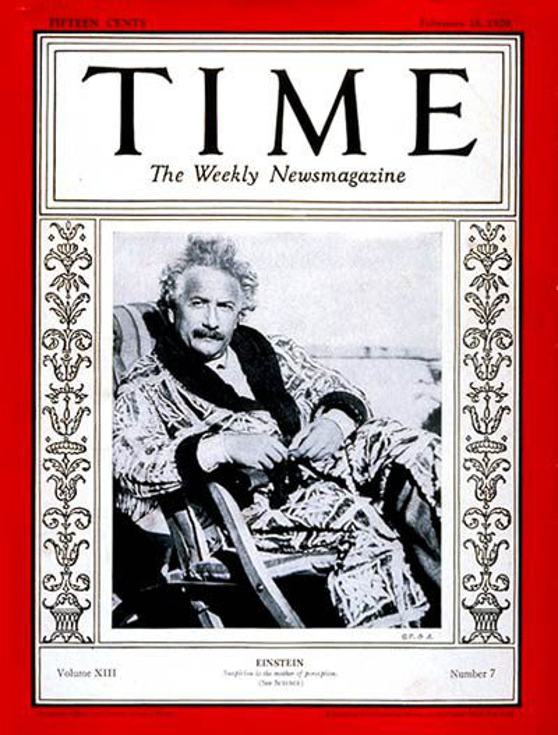 Albert Einstein on the cover of Time, Feb. 18, 1929.