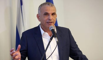 Finance Minister Kahlon during a press conference, April, 2017.