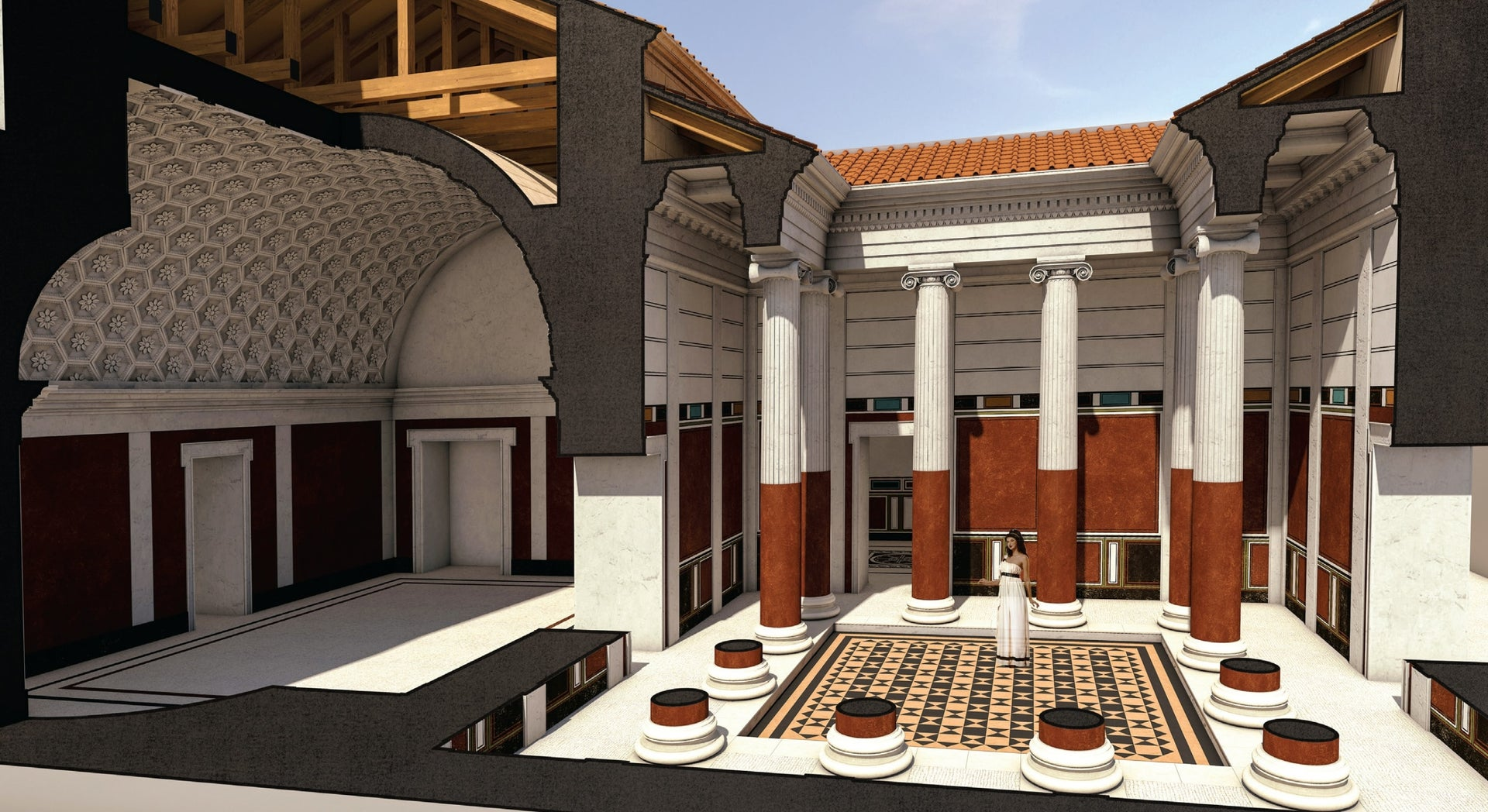 Digital reconstruction of the royal bathhouse in Machaerus. The re-erected ionic column once stood in the bathhouse along with 11 others that lined the entry hall.