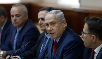 Israeli Prime Minister Benjamin Netanyahu attends the weekly cabinet meeting at his office in Jerusalem on June 25, 2017