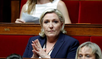 File photo: Marine Le Pen of France's far-right National Front party attends the opening session of the French National Assembly in Paris, France, June 27, 2017.