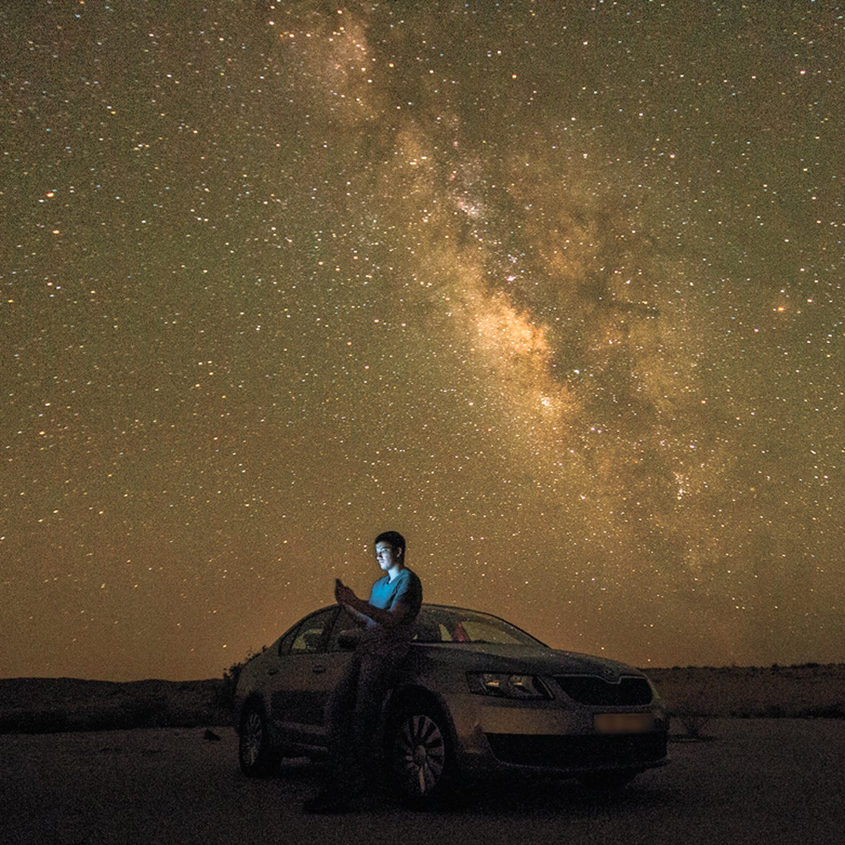 A Perseid meteor shower lights up the night sky in Mitzpeh Ramon.