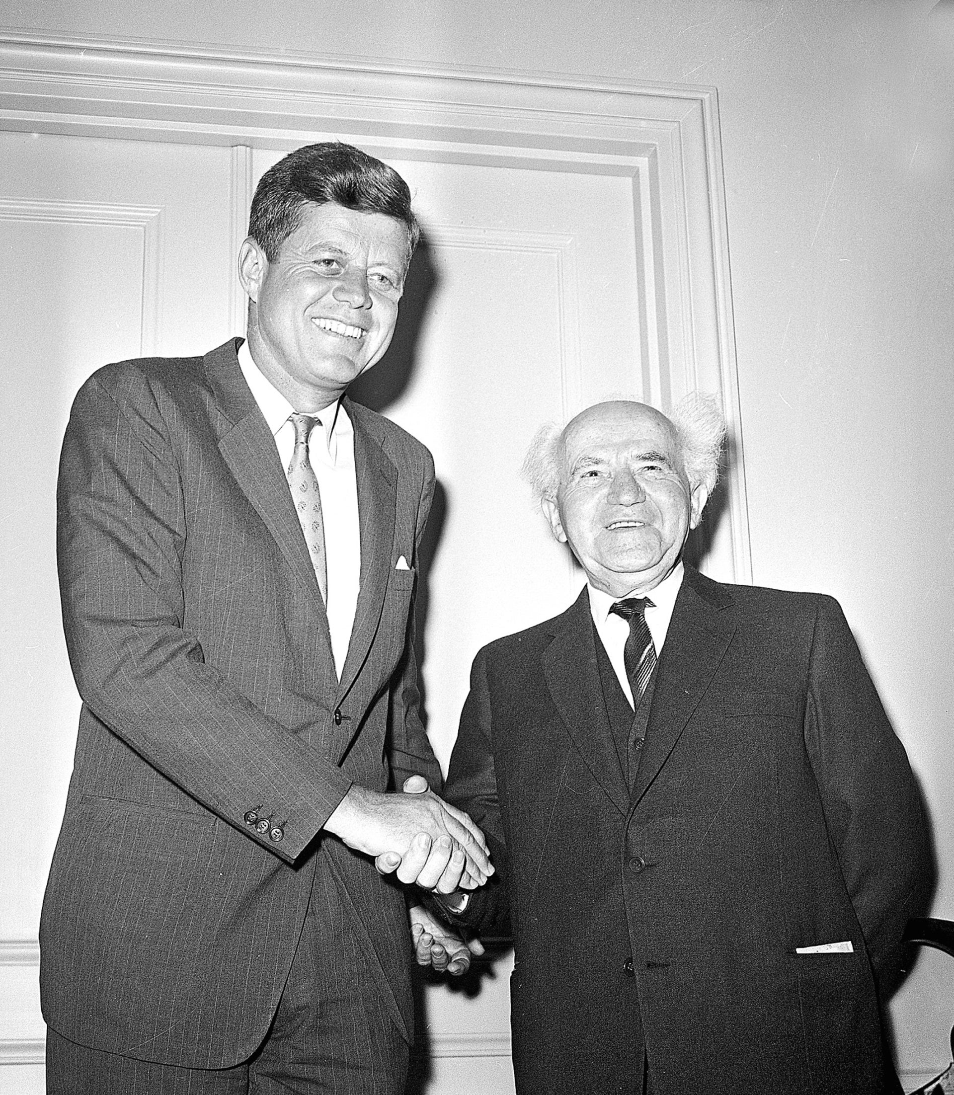U.S. President John F. Kennedy meets with Israeli Premier David Ben-Gurion at the Waldorf Hotel in New York City on May 30, 1961.