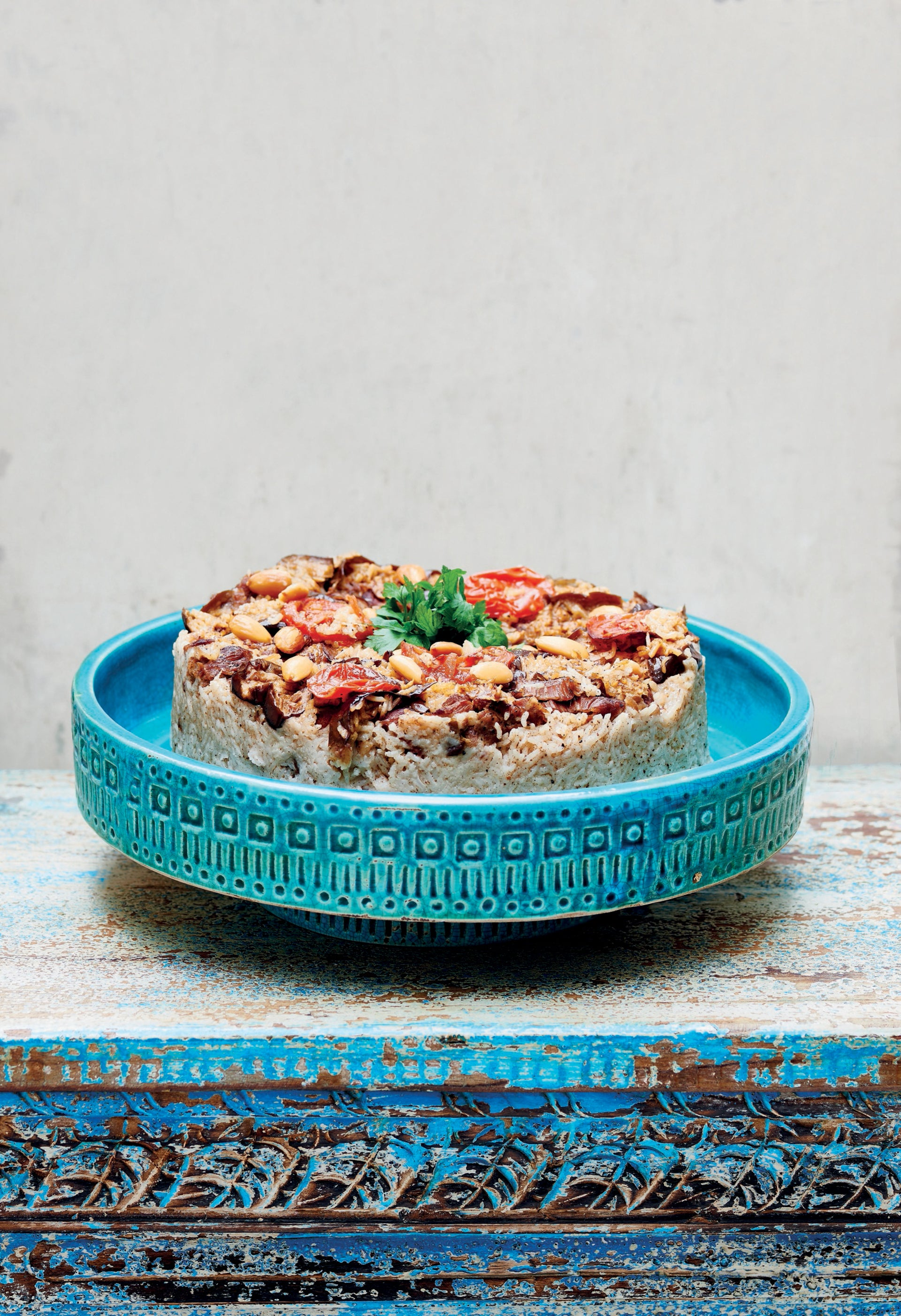 """Maqluba from the """"Palestine on a Plate"""" cookbook by Joudie Kalla."""