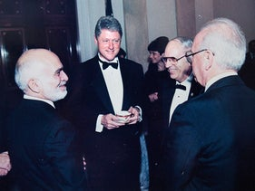 Efraim Halevy (second from right) with PM Yitzhak Rabin, U.S. President Bill Clinton and King Hussein of Jordan in Amman in 1994.