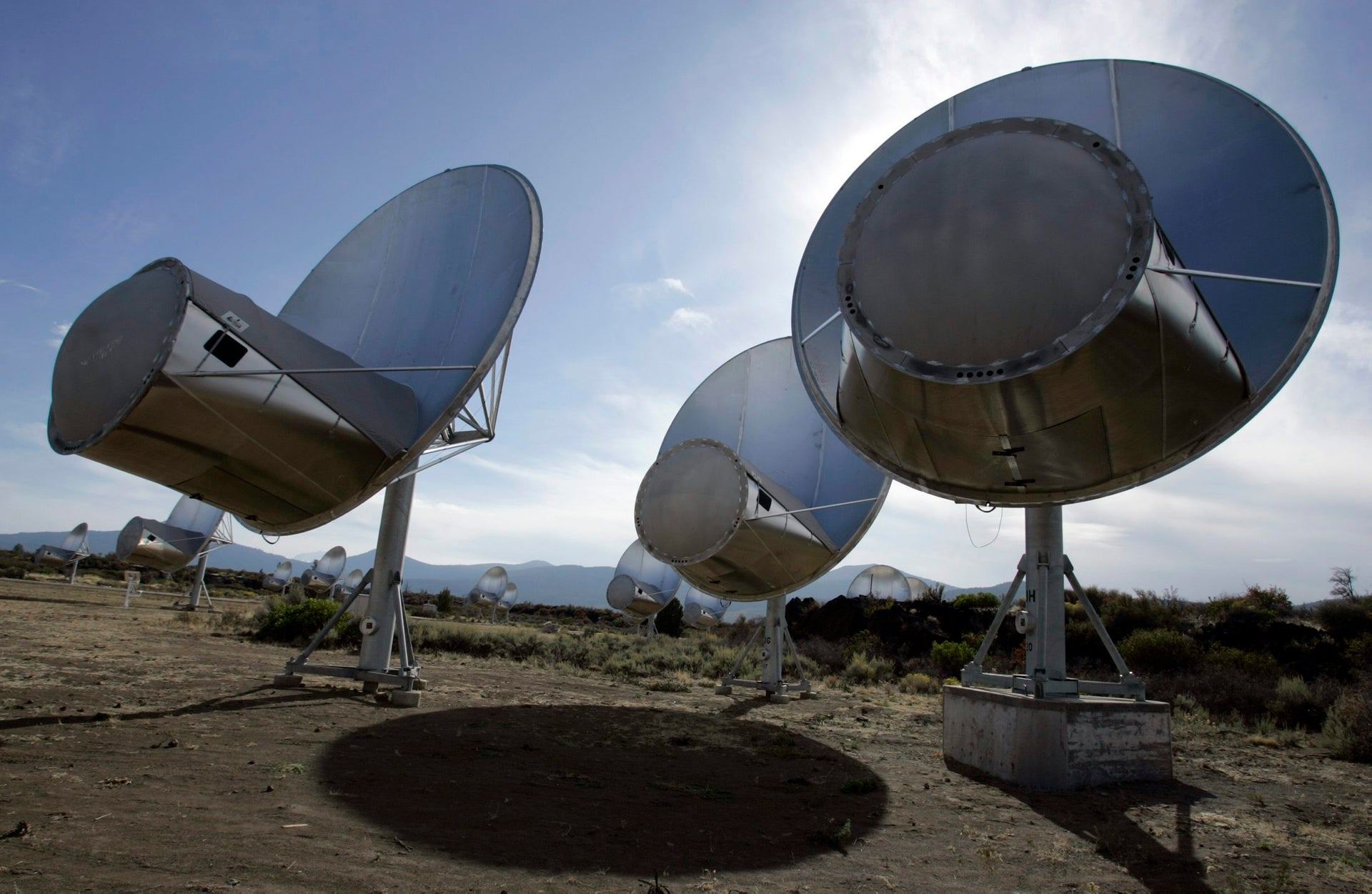 In this Oct. 9, 2007 file photo, radio telescopes of the Allen Telescope Array are seen in Hat Creek, Calif.