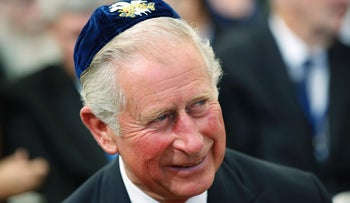 Britain's Prince Charles at former President Shimon Peres' funeral at Mount Herzl in the capital, September 30, 2016.